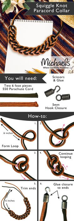 Create a stylish Paracord Collar Necklace with this easy step by step how to