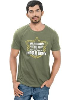Warriors Printed T Shirt For Indian Army & Indian Army Fan Lovers | Round Neck Printed T Shirt | Online India | WYO