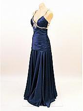 Black Satin Rhinestone Trimmed 30s Inspired Elegant Evening Dress-Vintage Style Formal Gowns
