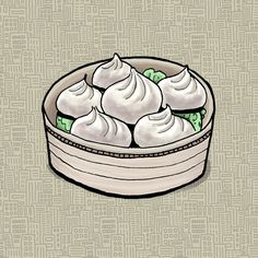 Dumplings at Shanghai Best#illustration from my food map of #jerseycity for @eightymag