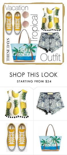 """""""TropicalVacationOutfit♡"""" by annadeiman ❤ liked on Polyvore featuring Kate Spade and MANGO"""