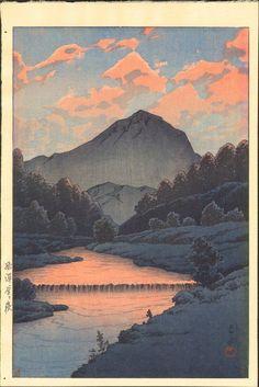 Kawase Hasui - Hida Kamagatake, ca. Japanese Art Prints, Japanese Artwork, Japanese Painting, Japanese Landscape, Landscape Art, Landscape Paintings, Landscape Prints, Japon Illustration, Landscape Illustration