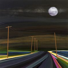 Grant Haffner - ) Strawberry moon over Bay Point Artist Grants, Strawberry Moons, Bay Point, Dont Kill My Vibe, Wayne Thiebaud, Inside Outside, Encaustic Art, Night Time, Architecture Art