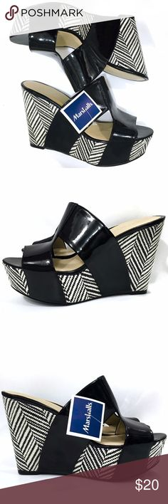 NWT Nine West Chevron Platform Wedge Sandals Faux patent leather strap across the foot. Never worn, but are very comfortable! Nine West Shoes