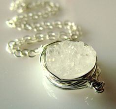 SNOW WHITE DRUZY Necklace Sterling Silver Wire by PapillonDaze, $42.00
