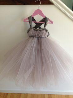 Grey flower girl dress with crisscross straps
