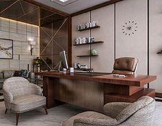 CEO Office – El Hamra Tower – Kuwait City on Behance – Luxury Office Designs Office Cabin Design, Small Office Design, Corporate Office Design, Office Furniture Design, Office Interior Design, Office Interiors, Interior Ideas, Ceo Office, Luxury Office