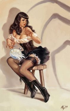 "Bettie Page inspired ""Little Miss Muffet"" pin up girl"