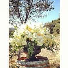 Yellow, butter, white, cream flowers in stone urn