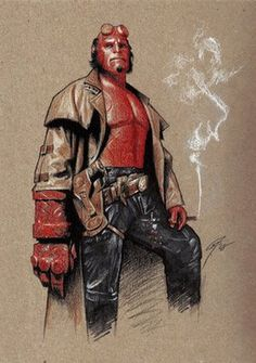 "Hellboy, my favorite ""hero"".   Who doesn't love a demonic paranormal investigator? <3"