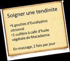 Treat tendinitis with essential oils, Eucalyptus Citronné, R Cafe, Health Care Reform, Aromatherapy Oils, Medical Care, Natural Medicine, Natural Health, The Cure, Massage