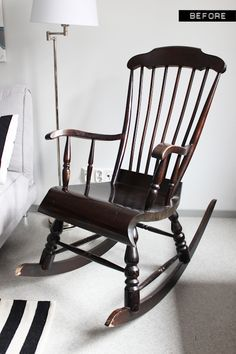 a wooden rocking chair makeover with paint