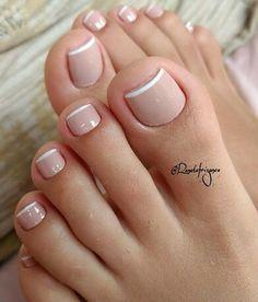 Pin by Melissa Prosper on Toe nails in 2020 Gel Toe Nails, Feet Nails, Toe Nail Art, Pretty Toe Nails, Cute Toe Nails, Pretty Toes, French Gel, French Nails, French Pedicure