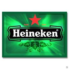 PLACA METAL HEINEKEN Na placa em metal para decorar o bar, domina o verde da Heineken, mas lá está a estrela vermelha, um símbolo pendurado nos barris por cervejeiros de um passado muito distante para proteger o preparo.