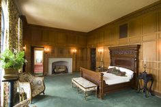 Marland Mansion - Ponca City, Oklahoma - The woodwork in this place is amazing. Look at that vent above the bed; in the center of each intersection is a carved floret.