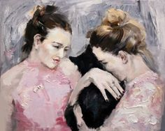 Girls with the cat