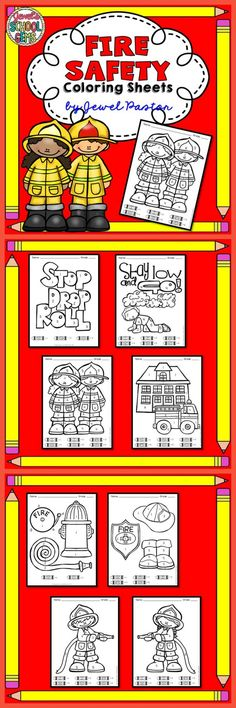 """Fire Safety """"Fire Safety Coloring Sheets"""" is the perfect activity for your… Community Helpers Preschool, Preschool Lessons, Fire Safety Week, Fire Prevention Week, Camping First Aid Kit, Fire Drill, Health Lessons, Coloring Sheets, Firefighting"""