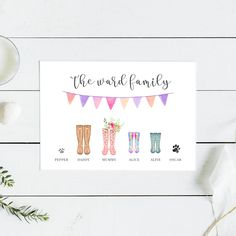 family of welly boots rain boots poster print
