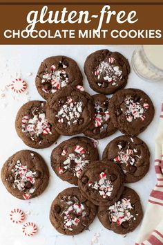 Gluten-free chocolate mint cookies are soft, decadent, and full of peppermint flavor. Make this recipe for family or take to a holiday cookie exchange! #glutenfreecookies #glutenfree #christmascookies #cookies #glutenfreechristmas Gluten Free Christmas Cookies, Holiday Cookie Recipes, Gluten Free Cookies, Holiday Cookies, Holiday Treats, Gluten Free Chocolate Cookies, Keto Cookies, Christmas Desserts, Sugar Cookies