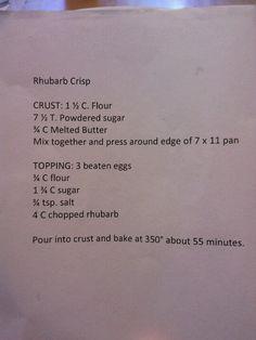 Grandmas simple rhubarb crisp recipe