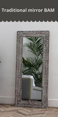 Traditional mirror #ETNIQ #bam_mirror Large Wooden Mirror, Entry Mirror, Traditional Mirrors, Custom Mirrors, Graphic Patterns, Oversized Mirror, Ikea, Carving, Interior Design