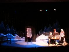 Almost, Maine.  Sad and Glad-full stage.  Theatre Columbus State.  Sharnai Skinner, Rose Williams, Richard Ugland. Kurt Mueller-Lighting Designer.