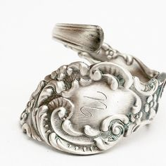 Art Nouveau Florid Scroll Sterling Silver Spoon Ring