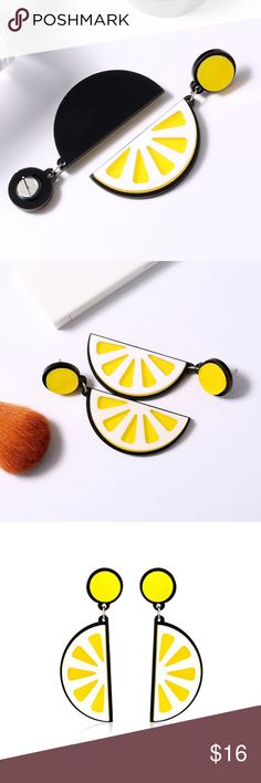 Super fun for Summer! They make an instant statement and bright up the simplest of outfits! Light weight Approximately in long width. New with tags Jewelry Earrings Lemon Slice, Lemon Yellow, Fashion Design, Fashion Tips, Shop My, Bright, Tags, Fruit, Simple