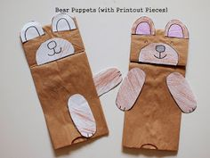 Make a paper bag bear puppet (with printables)