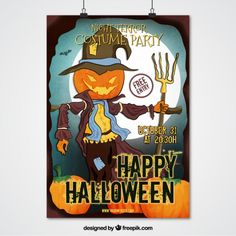Halloween party poster of scarecrow Free Vector