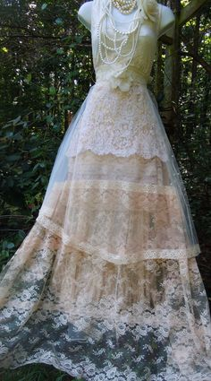 Lace wedding dress cream nude tulle tiered by vintageopulence