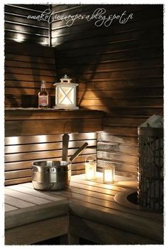 no idea what this says, as I can't read Finnish, but I like the lanterns for light in the sauna. Outdoor Sauna, Outdoor Baths, Sauna Lights, Portable Sauna, Sauna Design, Finnish Sauna, Sauna Room, Small Showers, My Ideal Home