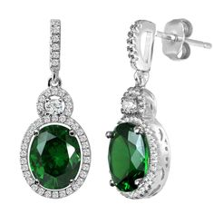 Bling by Wilkening Silver Victorian Emerald Hued Oval Drops. Bling by Wilkening, the world's most exquisite cubic zirconia. Estate Fashion, Semi-Precious & Regal Travel Jewelry