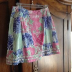 Tropical skirt Lilly Pulitzer patchwork inspired skirt in mint green pink and blue. Lilly Pulitzer Skirts Mini