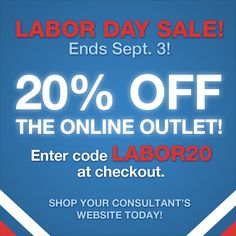 Labor Day Sale! 20% off already marked down prices!  Shop the PartyLite Online Outlet for candles, candle holders, melts, warmers and flameless fragrance.