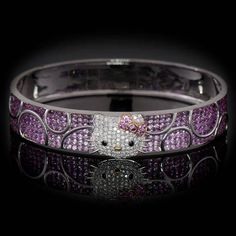 HELLO KITTY 18k white gold bangle with diamonds and pink sapphires bracelet  *LIMITED QUANTITY*