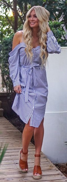 #summer #outfits  Heading To Dinner In The Cutest Striped Midi Dress!