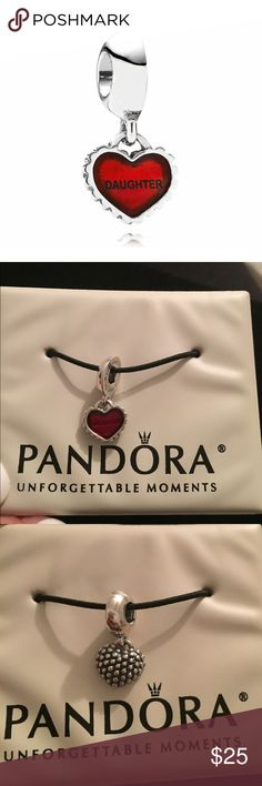 Pandora Daughter Charm 100% authentic Pandora daughter heart dangle  charm, stamped S925 ALE, good condition(just a reflection showing on it in the pictures), sterling silver, comes wrapped in a safe/secure pouch. Bundle to save ❤️ Pandora Jewelry