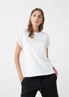 Message cotton t-shirt -  Woman | MANGO USA