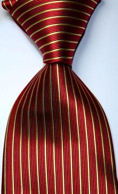 New Classic Striped Red Gold JACQUARD WOVEN Silk Men's Tie Necktie #190 #Handmade #NeckTie