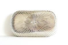 Vintage Hardcase Formal Handbag Silver Metal with Rhinestones Made in Italy by Walborg