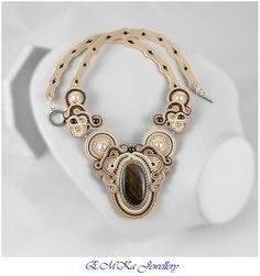 Hand made soutache full size necklace Golden Shadows in brown / beige / golden tones