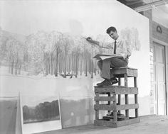 This week's From the Archives photo comes from our Exhibition Department back in 1956: Robert Kane begins a mural for the Hall of North American Forests  © AMNH Library/Image #324467