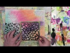 Stencil Play with StencilGirl's Flower, PanPastels, and Paint Part 1 with Carolyn Dube - YouTube