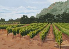 California Impressionistic Landscape - Napa Vineyard - Limited Edition Print