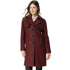 Tommy Hilfiger women's coat. We've reimagined the iconic duffle coat a rich burgundy houndstooth. Love is in the details-from the classic horn closures to the sleek contrast trim.   <br>• Classic fit.<br>• 50% acrylic, 25% synthetic, 20% wool, 5% other fabrics.<br>• Toggle closure, slash pockets.<br>• Dry clean.<br>• Imported.<br>