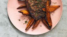 Jerk-spiced pork chops with sweet potato salad recipe : SBS Food - Spice Trip Sweet Meat Recipe, Sweet Potato Recipes, Savoury Recipes, Sweet Potato Wedges, Salad With Sweet Potato, No Salt Recipes, Pork Recipes, Indian Food Recipes, Vegetarian Recipes