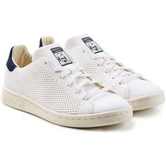 Adidas Originals Stan Smith Perforated Sneakers ($125) ❤ liked on Polyvore featuring shoes, sneakers, white, white leather trainers, leather sneakers, perforated leather shoes, perforated sneakers and genuine leather shoes