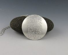 Round Sterling Silver Textured Pendant Pebble by annewalkerjewelry
