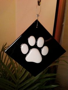 Fused Glass Paw Print Christmas Tree Ornament by RecycledelicBC